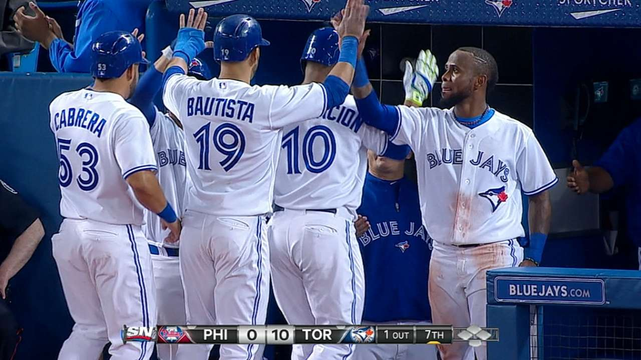 Blue Jays back brilliant Buehrle with 9-run 7th