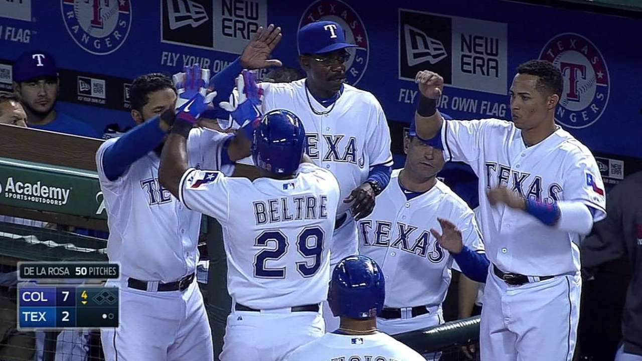 Beltre belts 100th homer as a Ranger