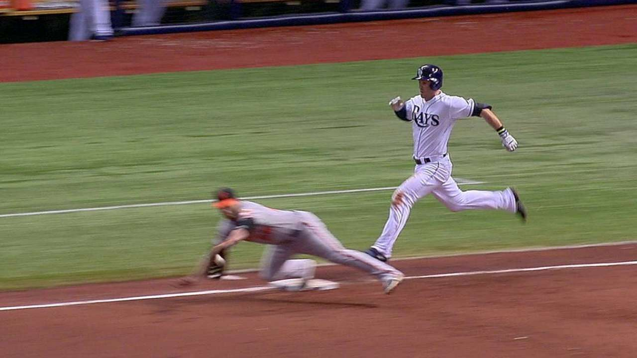 Close play at first confirmed after Rays challenge