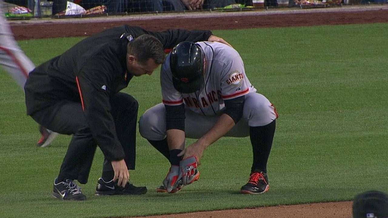 Belt gets scare when ball hits broken thumb