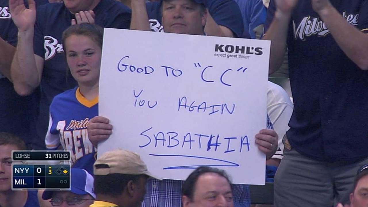 Sabathia returns to Milwaukee, but not former glory