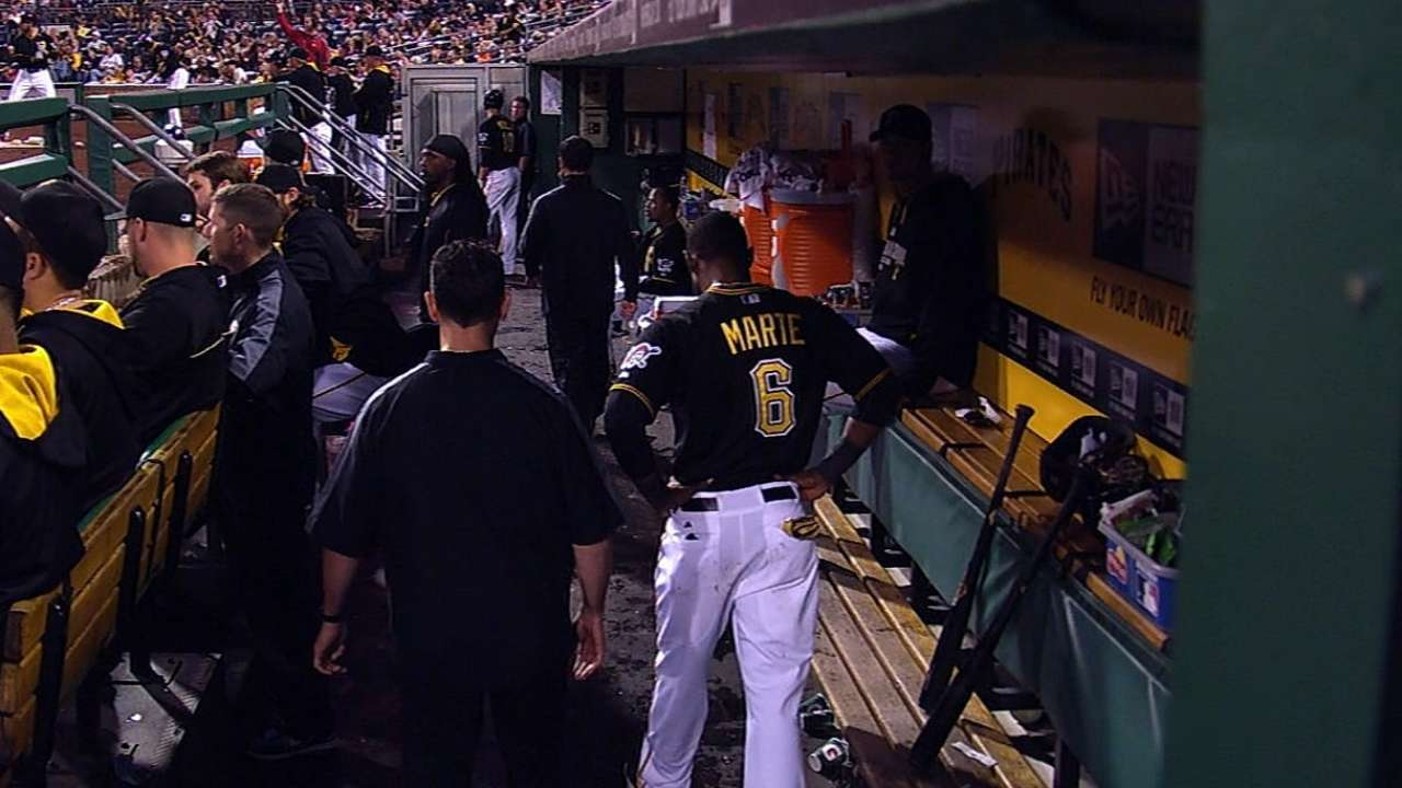 Back tightness keeps Marte out of lineup