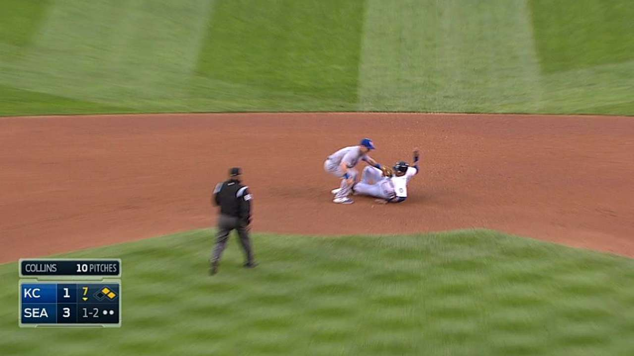 Royals win challenge on close play at second