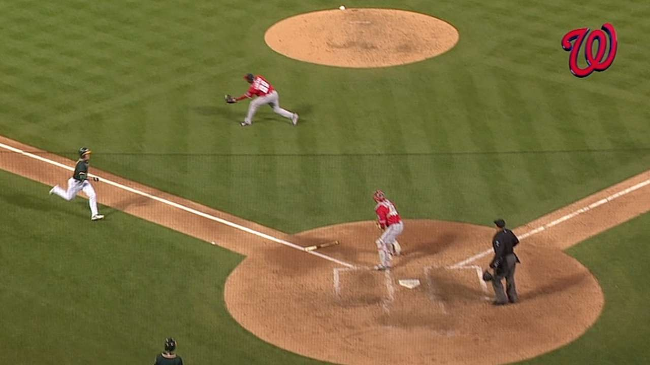 Roark's effort wasted as Soriano blows save vs. A's
