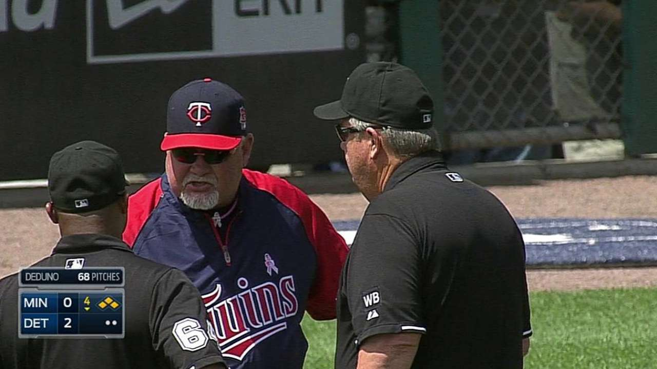 Gardy tossed for arguing in fourth inning