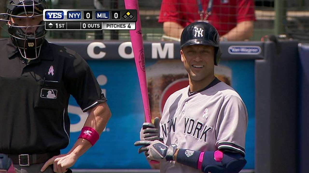 Bronze bat among Jeter's gifts from Brewers