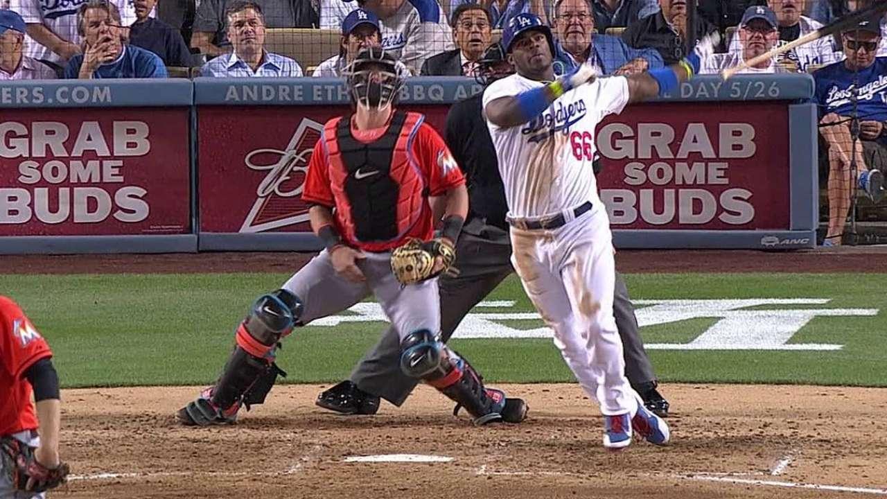 Leñazo de Puig impulsó a Dodgers sobre los Peces