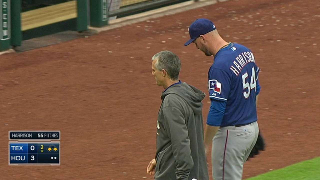 Harrison leaves Rangers to have back examined