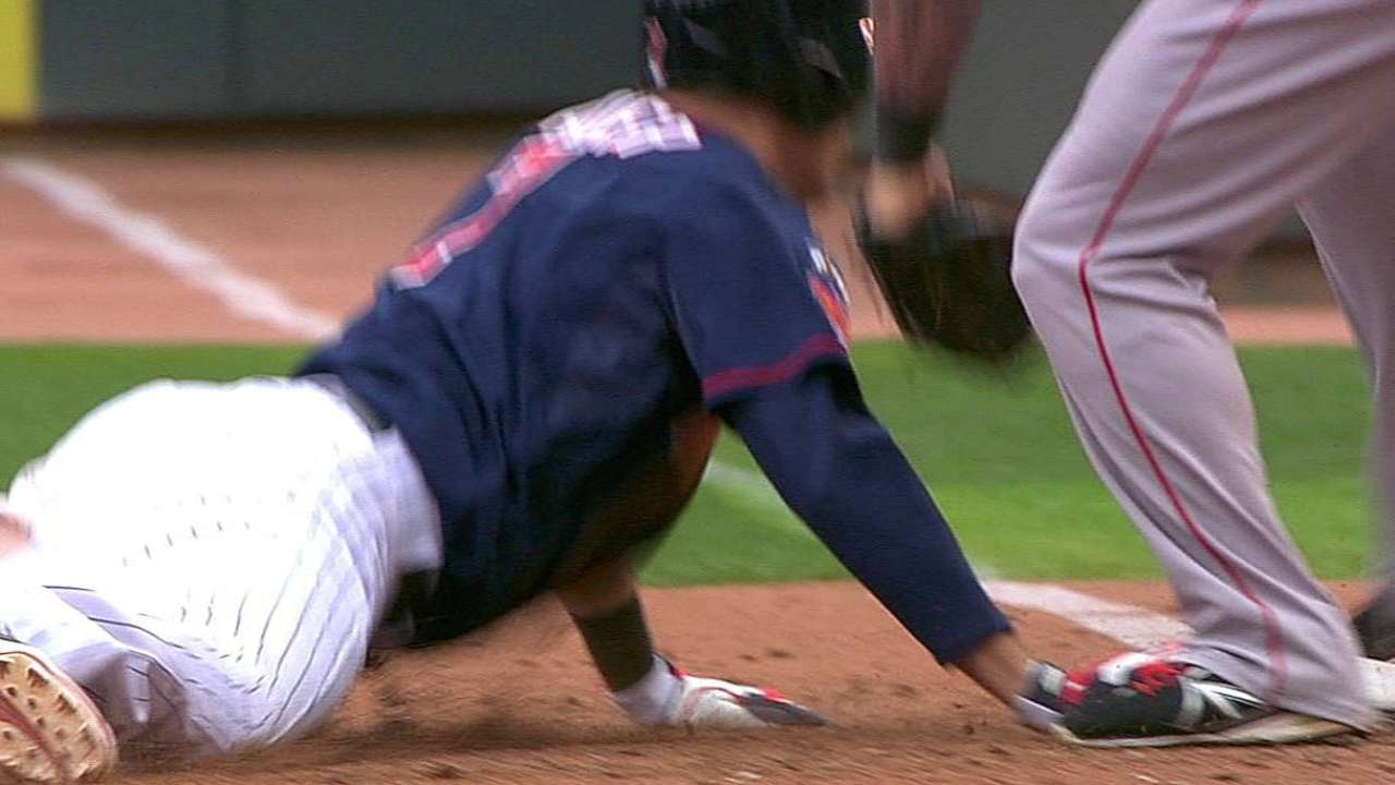 Call overturned after Twins challenge