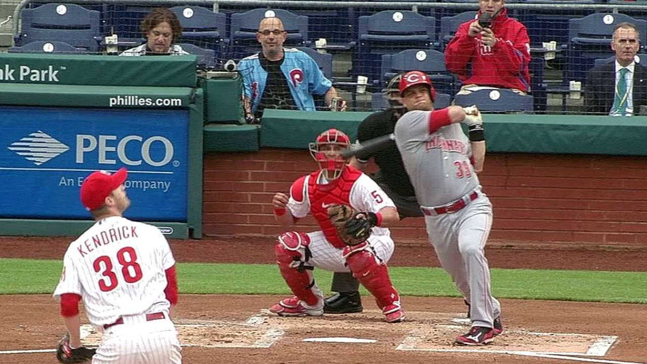 Mesoraco returns to Reds lineup, homers in first AB