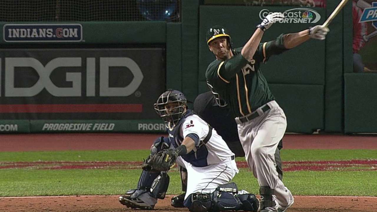 Blanks singles in first A's at-bat after whirlwind day