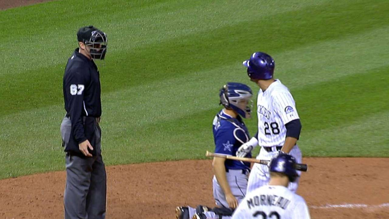 Arenado tossed for arguing called third strike