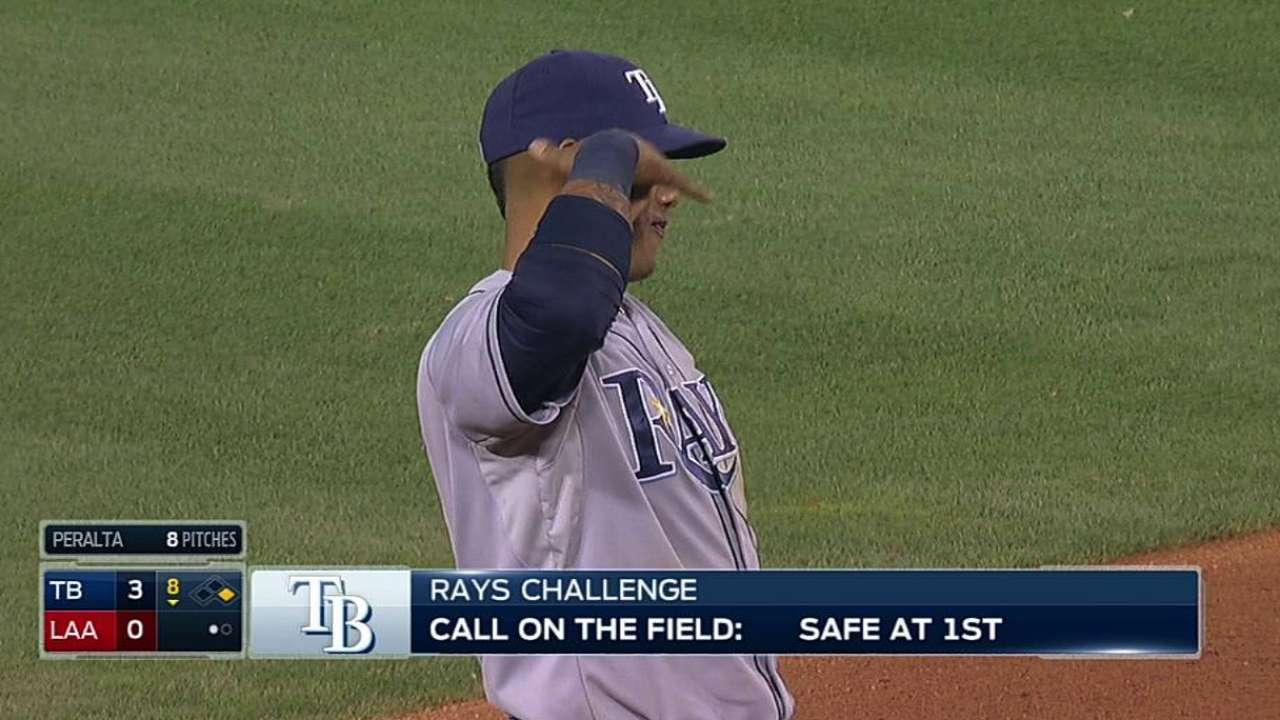 Rays challenge infield single, but safe call stands