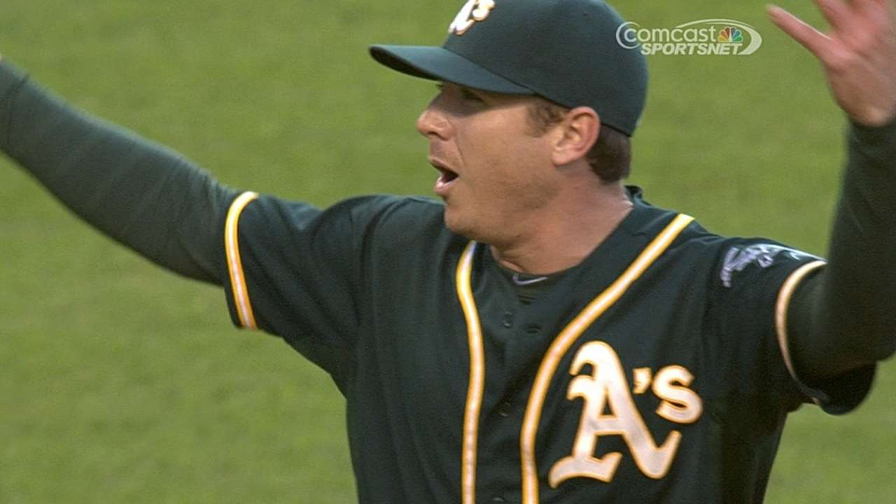 A's tack on runs after Kazmir's ejection to down Tribe