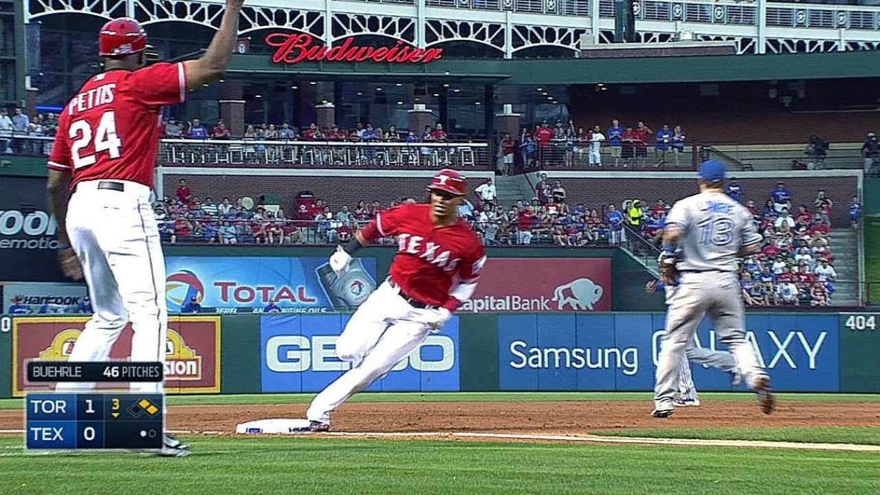 Rangers' offense lacks muscle in loss to Blue Jays