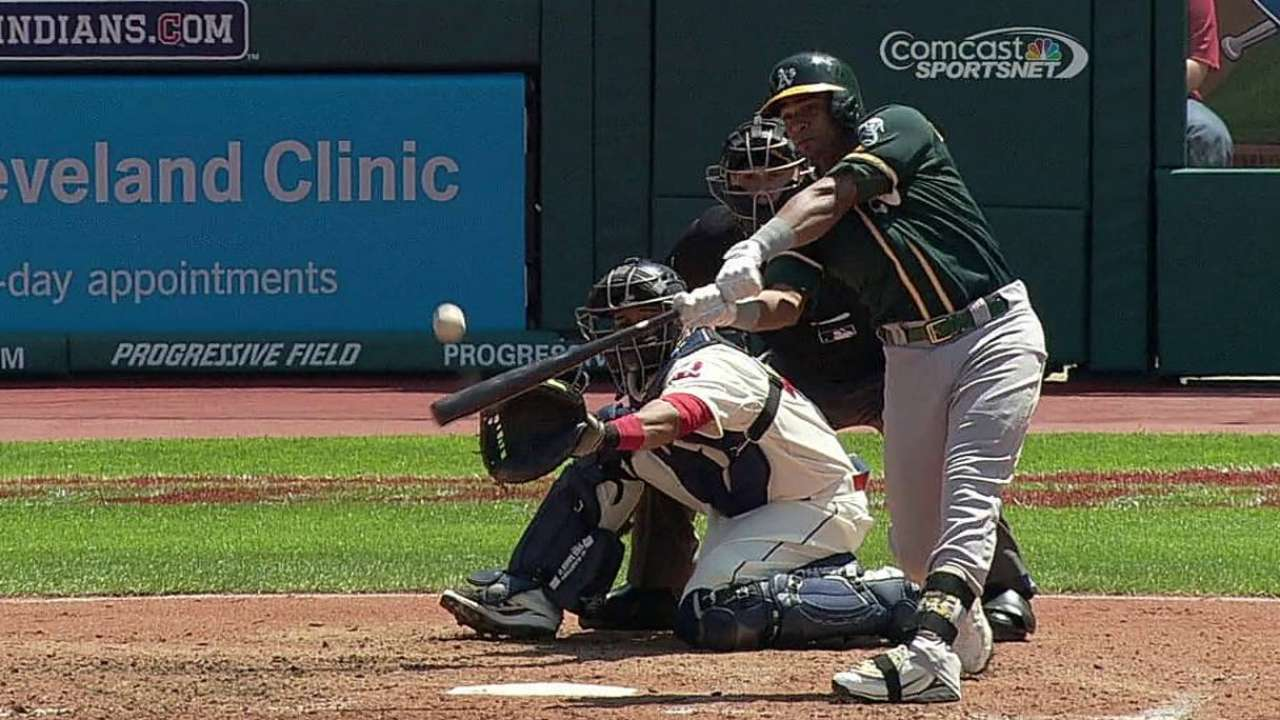 Cespedes leads A's rout to sweep Tribe