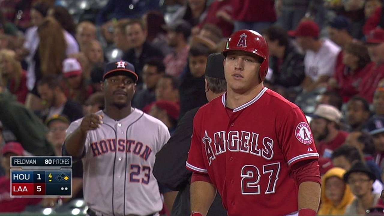 Trout given first day off of '14 with ailing hamstring