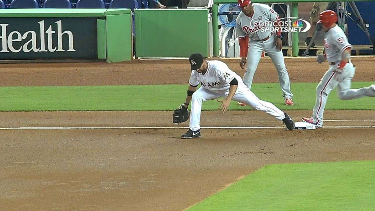 Phillies, Marlins win replay challenges at first base