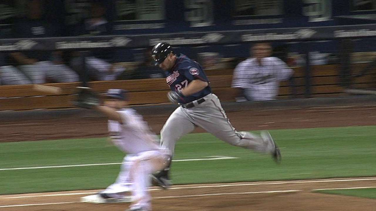 Play stands after Twins challenge call vs. Padres
