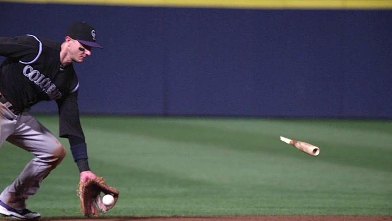 Tulo avoids broken bat on 'awkward' play at short
