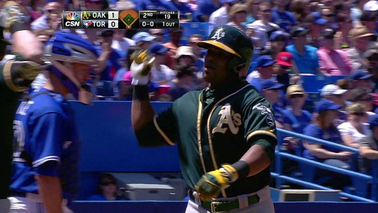 Shaky fielding offsets Cespedes' big day