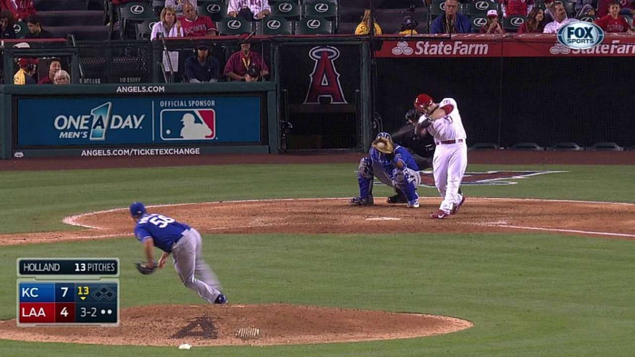 Royals pull away in 13th at Angel Stadium