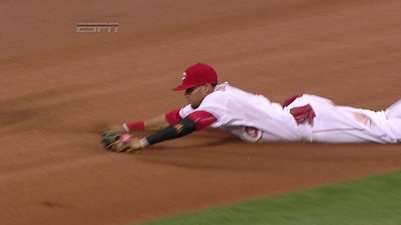 Hamilton showing off strong outfield defense