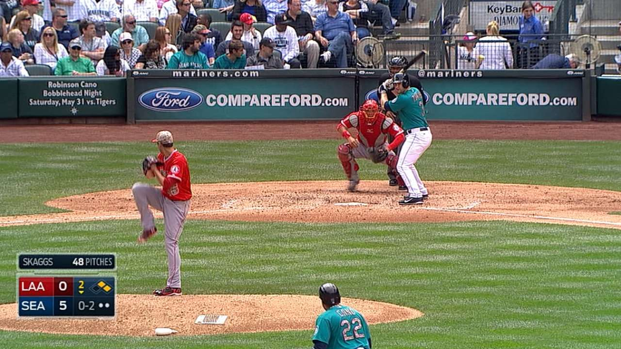 Skaggs throws sim game, eyes return to rotation