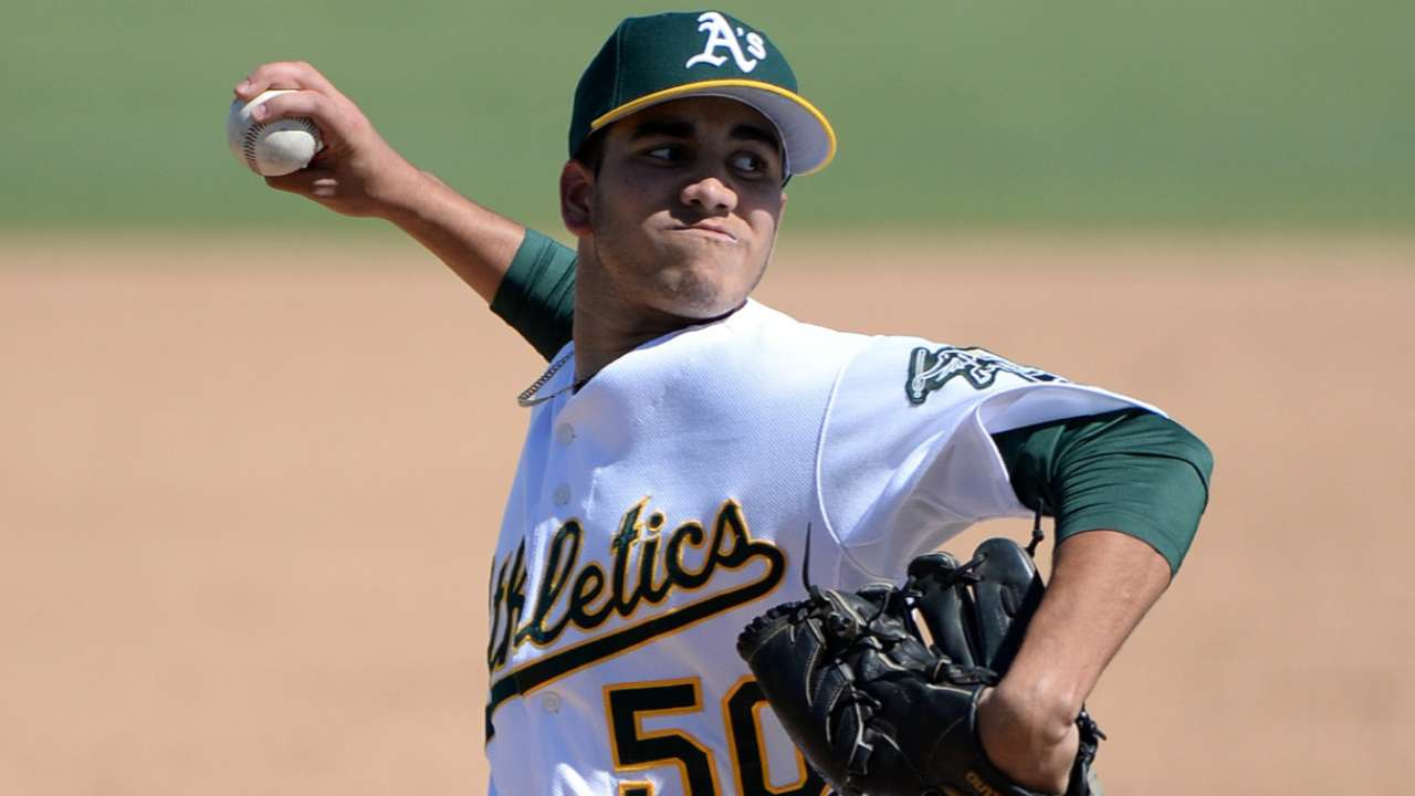A's send Friars pitcher to complete Blanks trade