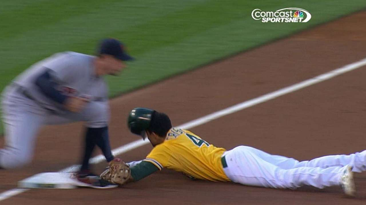 A's drop early replay challenge at third base