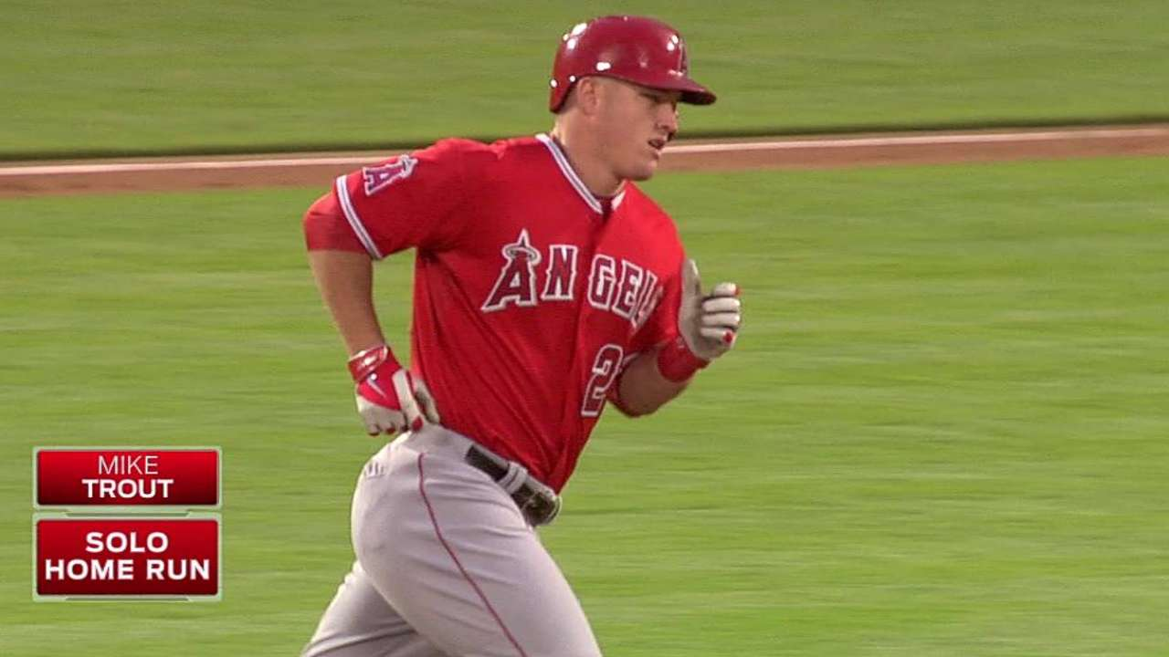 Stiff back sidelines Trout against Oakland