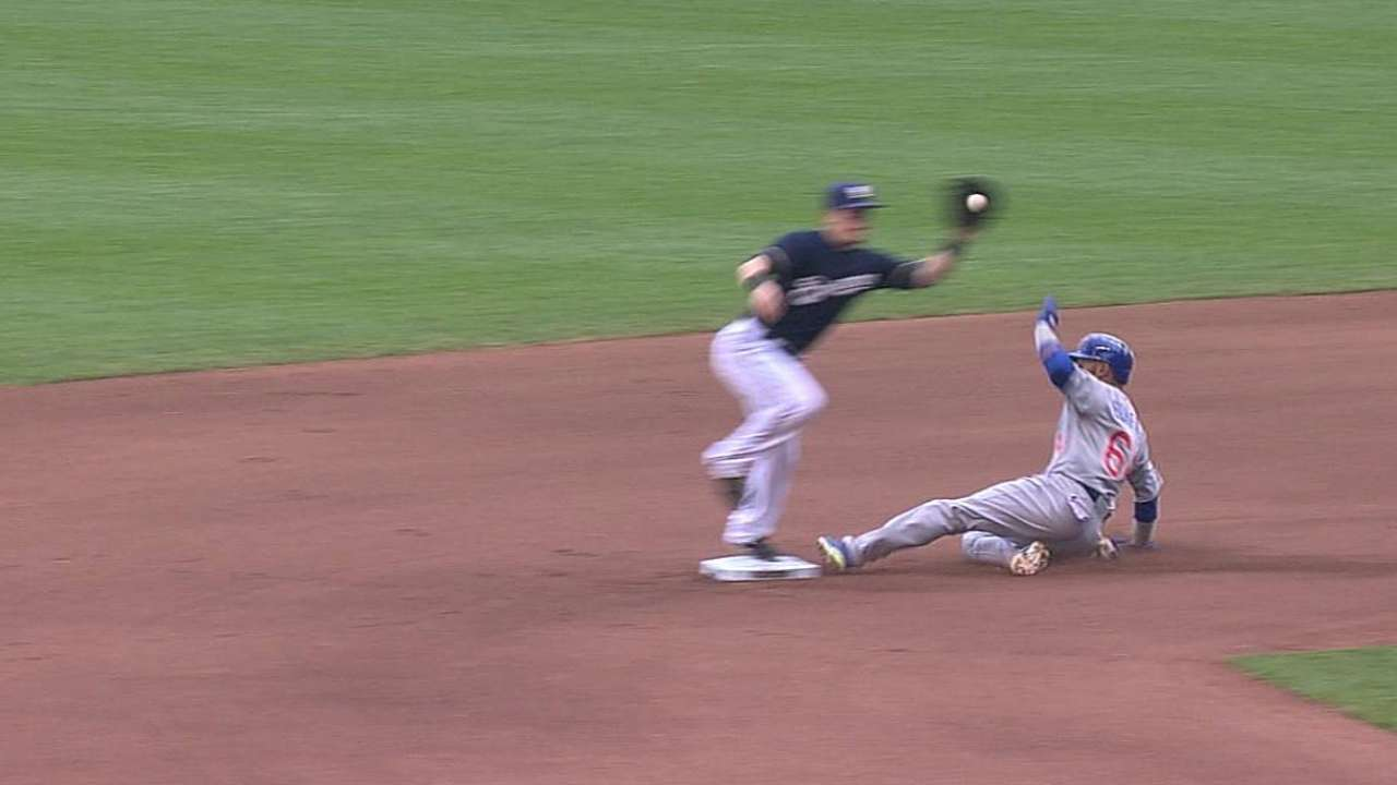 Crew loses challenge, setting up Cubs' two-run homer