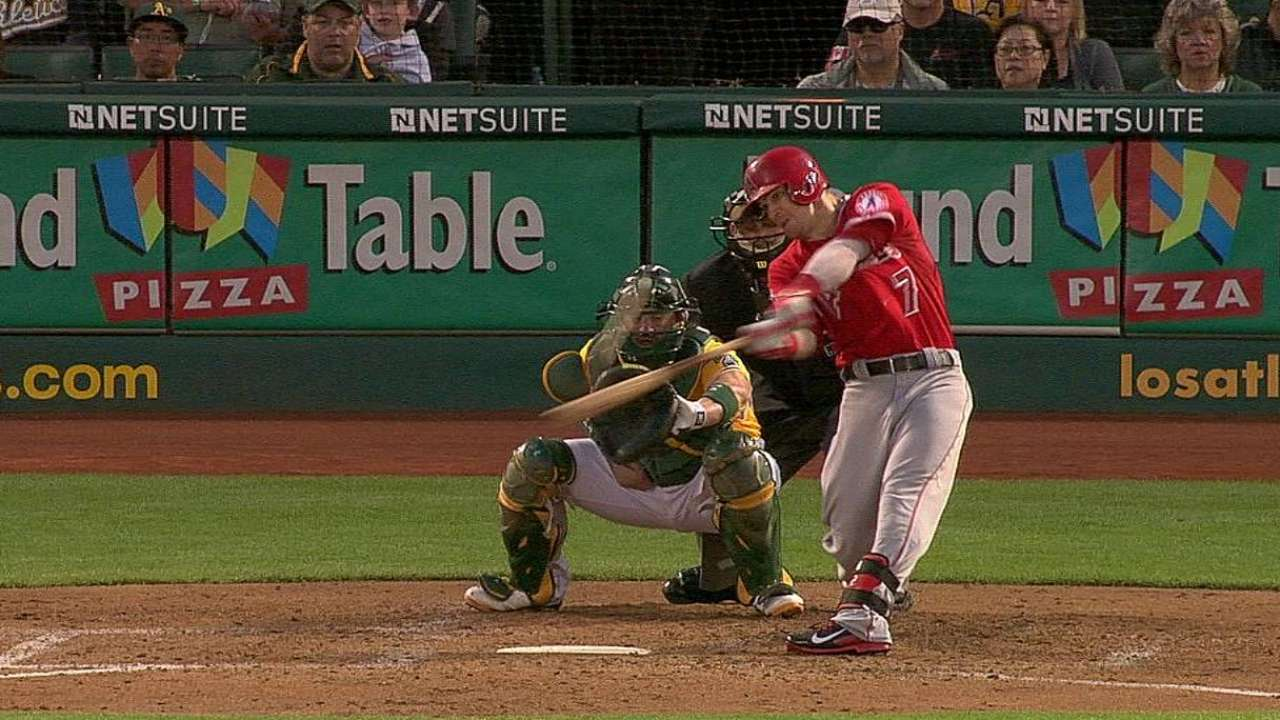 Angels stung by A's big seventh inning