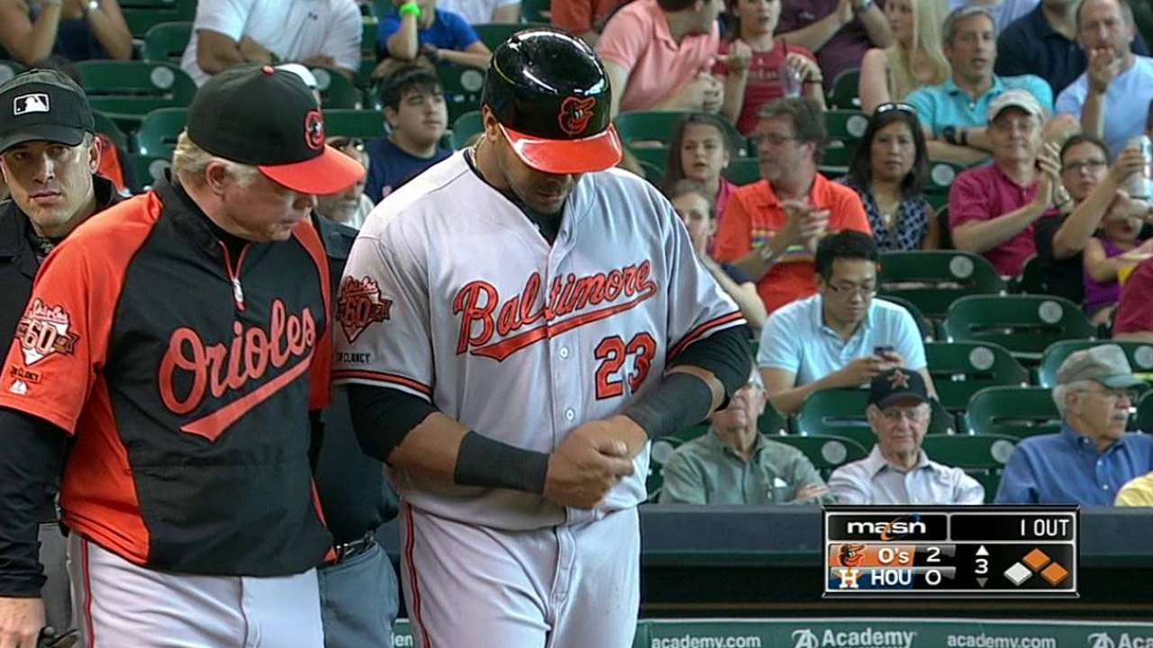 Cruz day to day with hand contusion after HBP