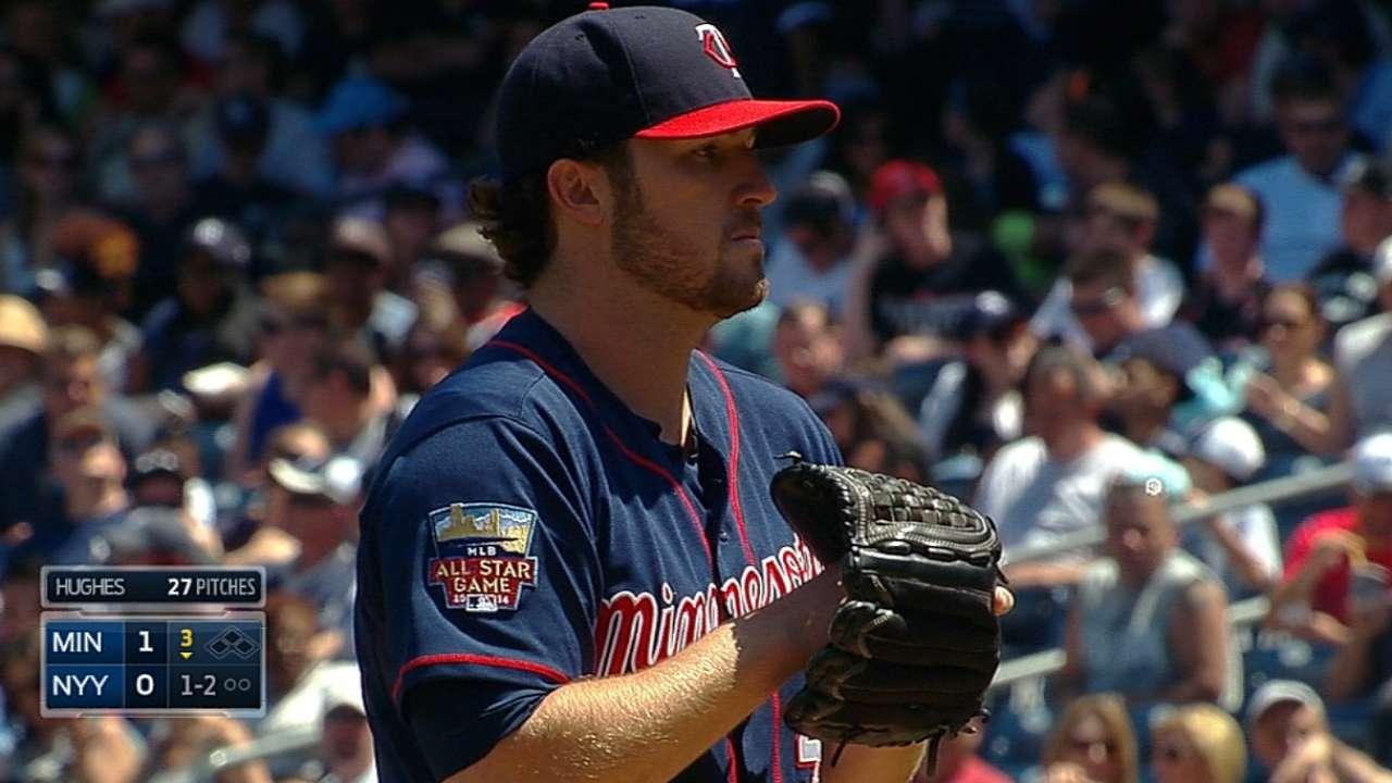 Six-run ninth helps strong Hughes defeat Yanks