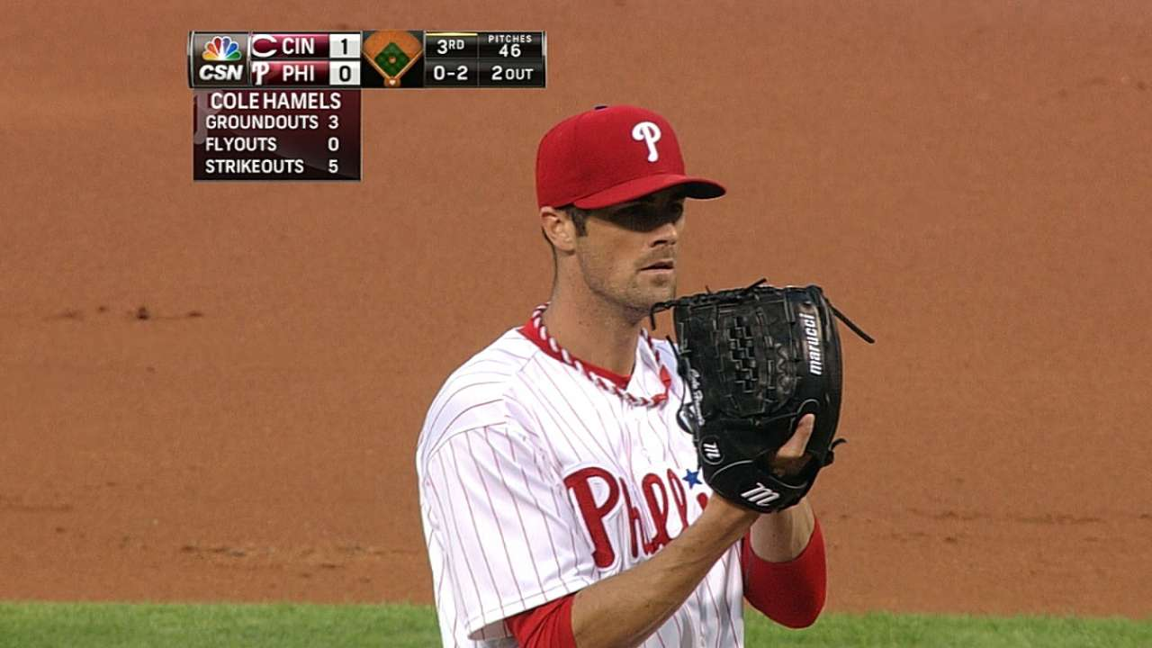 Hamels strikes out side in third on nine pitches