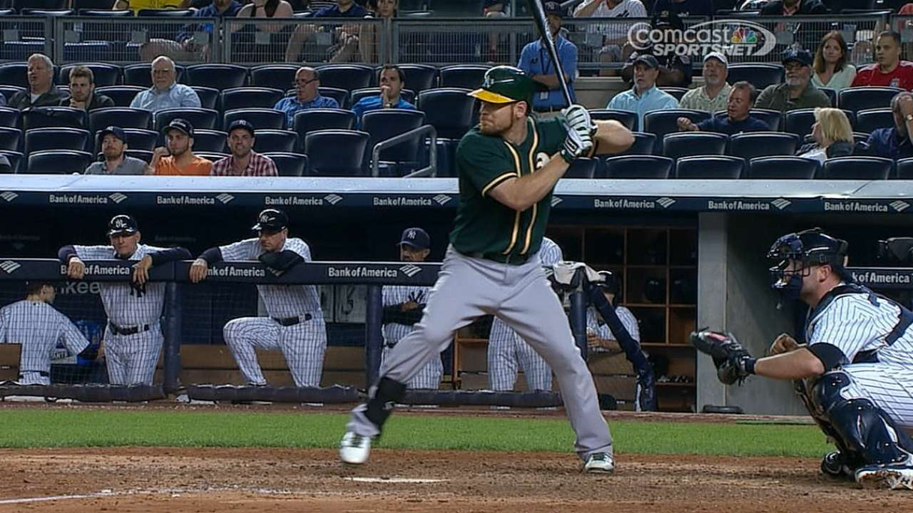 Moss returns to lineup, powers A's to win