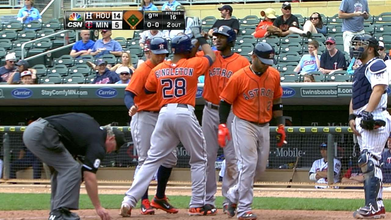 Grand slams impulsan paliza de Astros vs. Mellizos