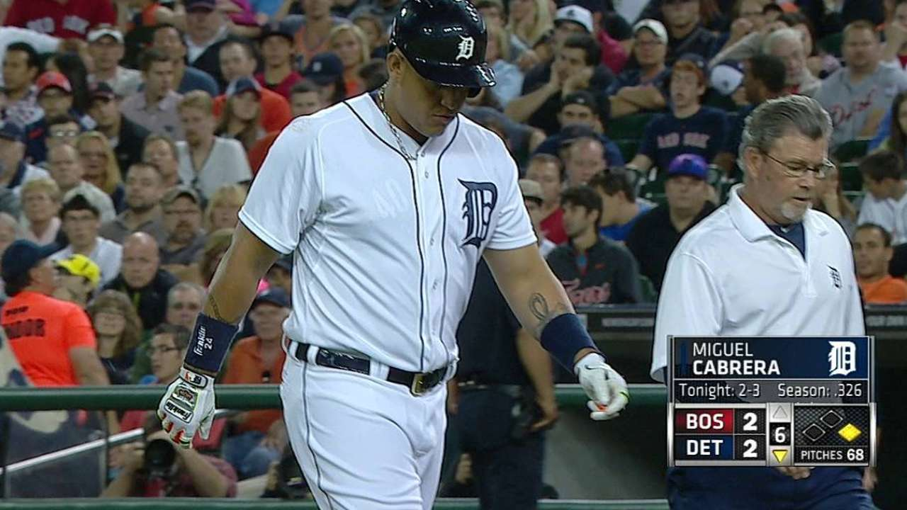 Tight hamstring forces Miggy's early exit