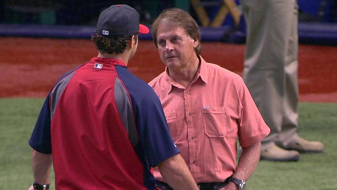 La Russa throws out first pitch