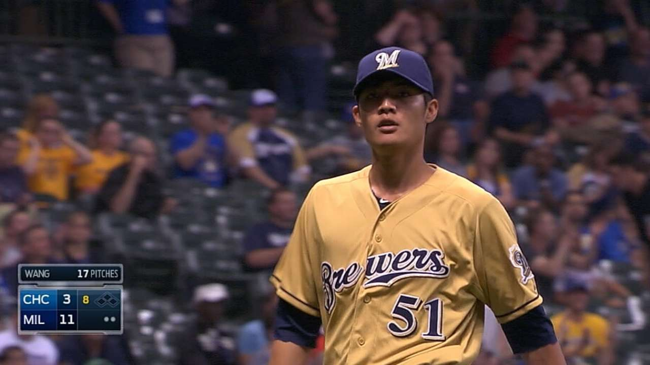 Crew Rule 5 pick Wang hits Majors milestone