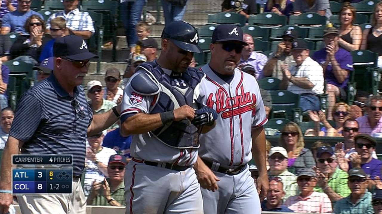 HBP following Braves injury sparks ejections at Coors