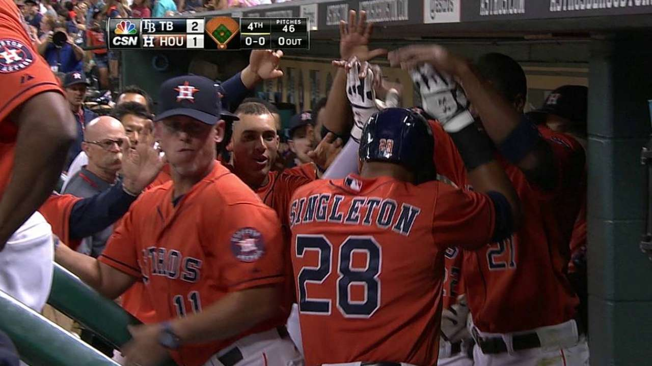 Singleton's blast not enough as Cobb halts Astros
