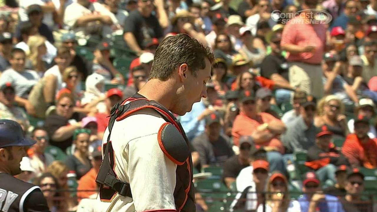 Posey feels 'fine' after taking foul tip to mask