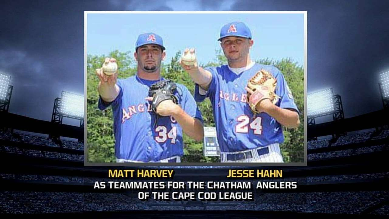 Harvey reunites with high school teammate Hahn