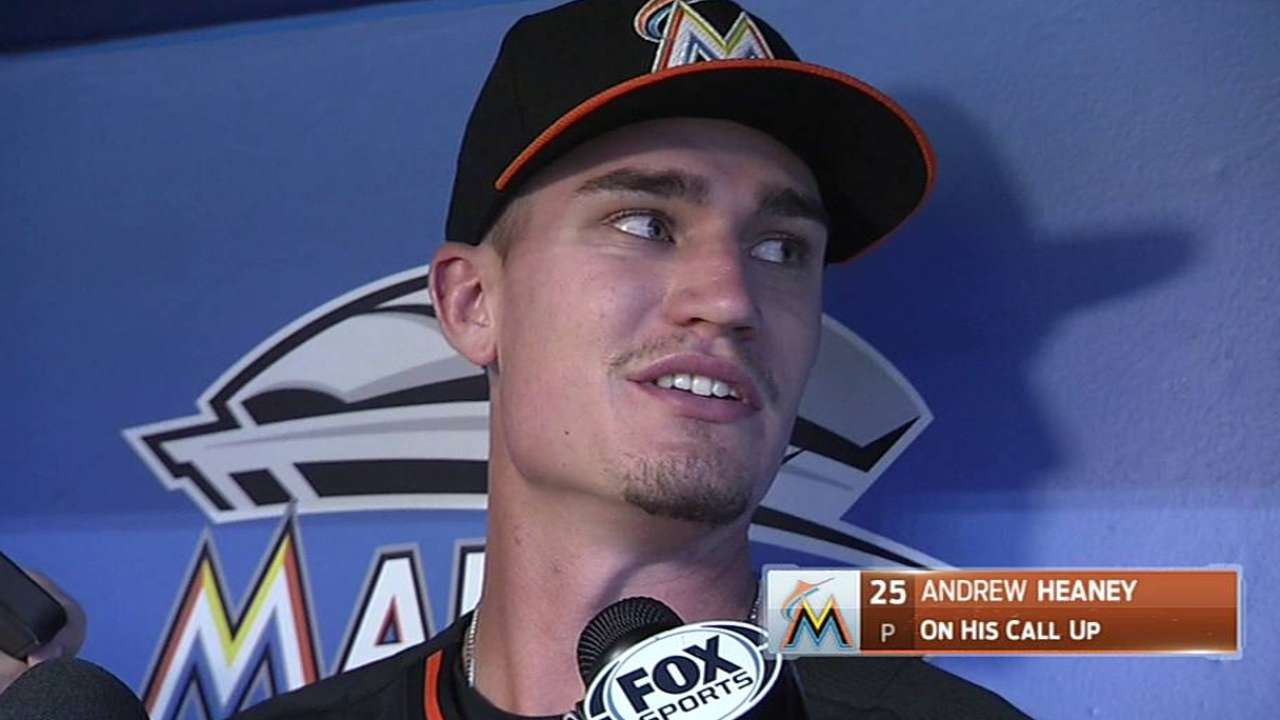 In flurry of moves, Marlins recall phenom Heaney