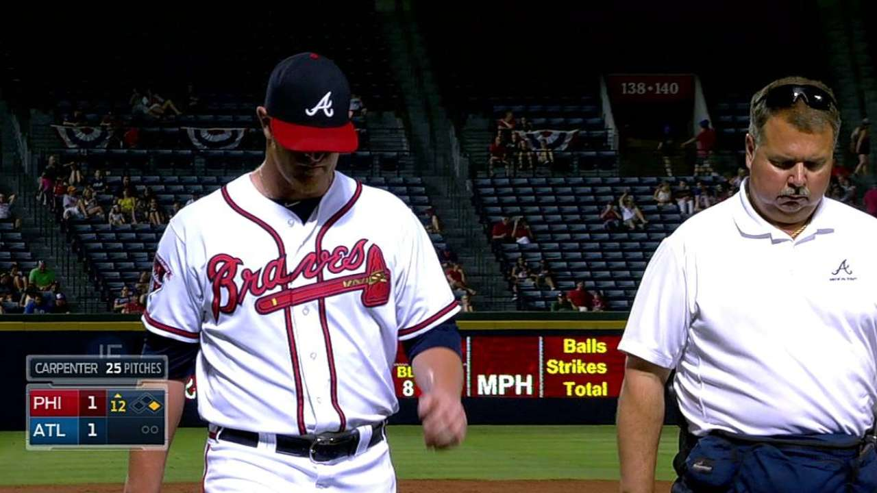 Braves place Carpenter on DL with biceps strain