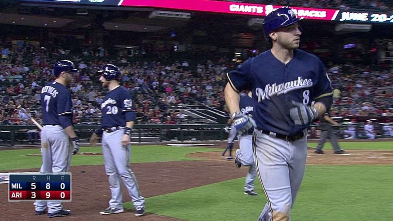 Brewers use late six-pack to down D-backs