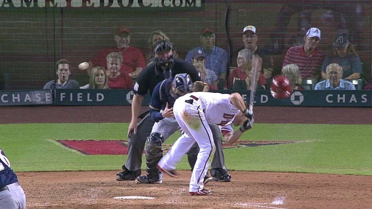 Owings back in action after being hit by pitch