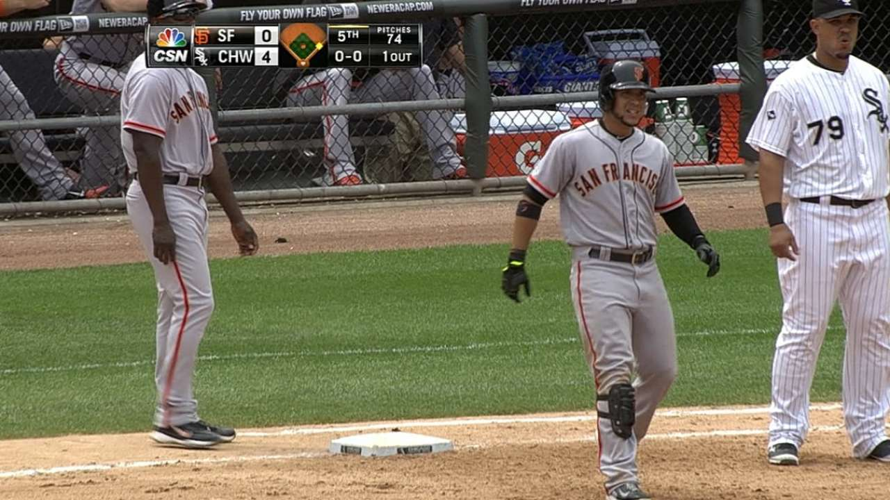 Lefty Blanco gets rare pair of hits off of Sale